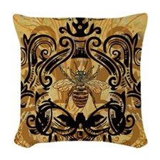 BeeFloralGold460ip Woven Throw Pillow