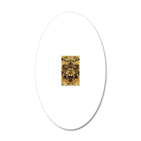 BeeFloralGoldJr 20x12 Oval Wall Decal