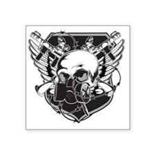 "Gas Mask Skull Square Sticker 3"" x 3"""