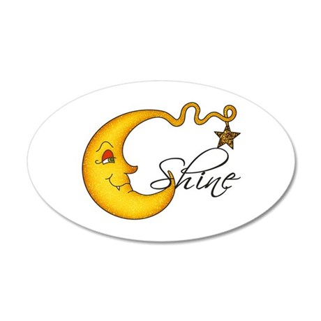 Glowing MoonShine With Star 20x12 Oval Wall Decal