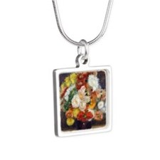 Pillow Renoir Chrysanthemu Silver Square Necklace