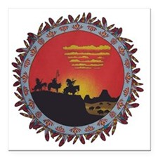 """Indians On The Prairie D Square Car Magnet 3"""" x 3"""""""