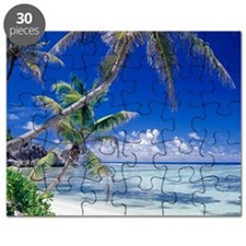 Seychelles, ocean view from deserted tropic Puzzle