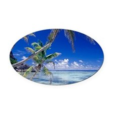Seychelles, ocean view from desert Oval Car Magnet