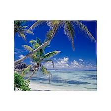 Seychelles, ocean view from deserted Throw Blanket