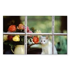 White cat sitting in window ne Decal