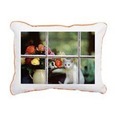 White cat sitting in win Rectangular Canvas Pillow