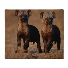 Two spotted hyena pups (Crocuta croc Throw Blanket