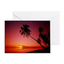 Coastline at sunset, Tahiti Greeting Card