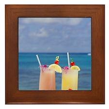 Tropical drinks against background of  Framed Tile