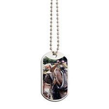 Decorated horse harnessed to carriage, st Dog Tags