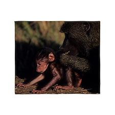 Olive baboon (Papio anubis), groomin Throw Blanket
