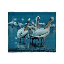 Flock of white pelicans (Pelecanus o Throw Blanket