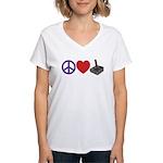 Peace, Love & Joystick Women's V-Neck T-Shirt