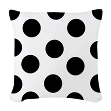 Black And White Polka Dots Woven Throw Pillow