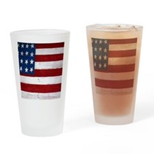 Patrotic flag on barn note card Drinking Glass