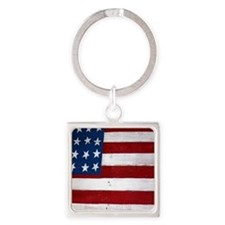 Patrotic flag on barn note card Square Keychain