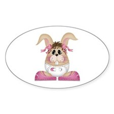 BABY GIRL BUNNY Oval Decal