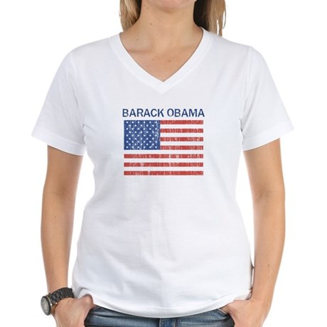 BARACK OBAMA (Vintage flag) Women's V-Neck T-Shirt