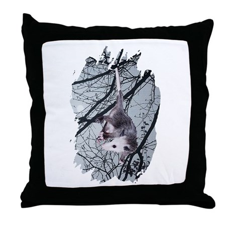 Moonlight Possum Throw Pillow