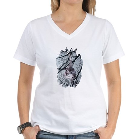 Moonlight Possum Women's V-Neck T-Shirt