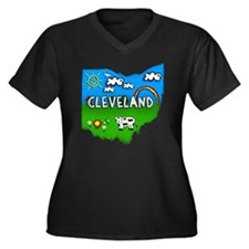 Cleveland Women's Plus Size Dark V-Neck T-Shirt