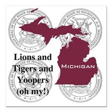 "Michigan Square Car Magnet 3"" x 3"""