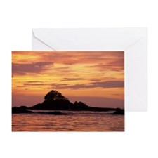 Islet at dusk, Vancouver Island, Bri Greeting Card