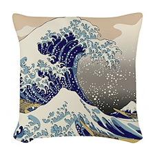 Hokusai_Great_WaveKing1 Woven Throw Pillow