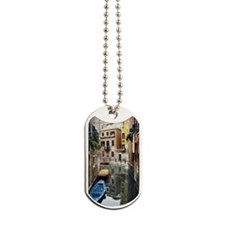 High angle view of empty boats in a canal Dog Tags