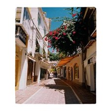 Street through old town of Marbella, Throw Blanket