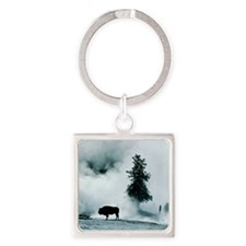 Silhouette of buffalo in winter in Square Keychain
