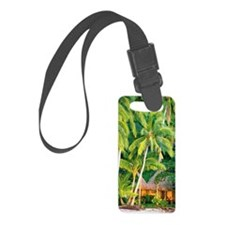 Palm trees over beach club hut,  Luggage Tag