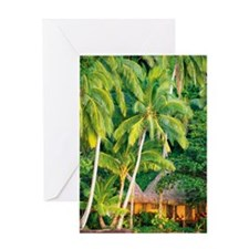 Palm trees over beach club hut, Qame Greeting Card