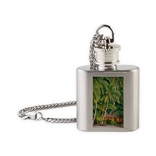 Palm trees over beach club hut, Qam Flask Necklace