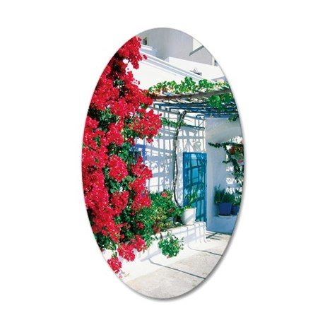 Red bougainvillea on the wal 35x21 Oval Wall Decal