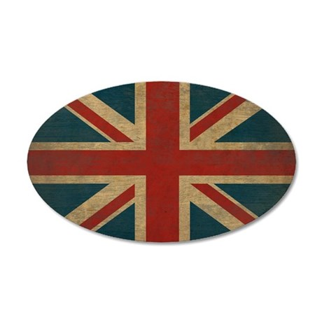 UnionJack9Pillow 35x21 Oval Wall Decal
