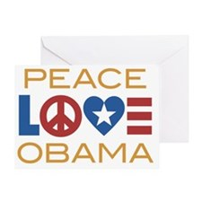 PeaceLoveObamaRWB Greeting Card