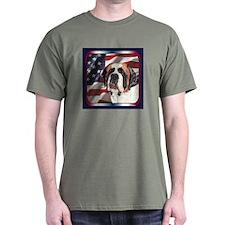 St Bernard US Flag Patriotic Dark Colored T-Shirt
