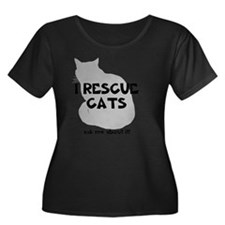 IRescuec Women's Plus Size Dark Scoop Neck T-Shirt