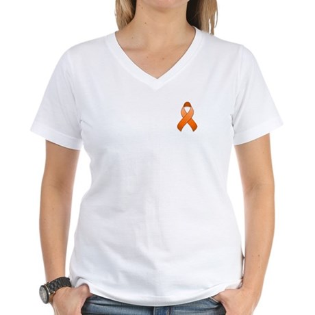 Orange Awareness Ribbon Women's V-Neck T-Shirt