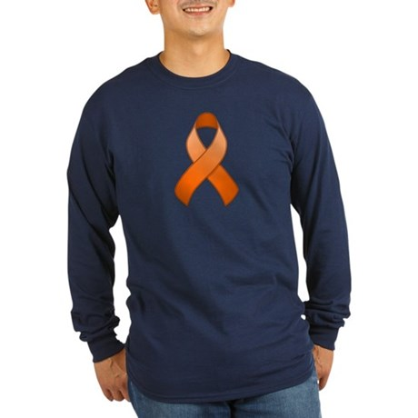Orange Awareness Ribbon Long Sleeve Dark T-Shirt