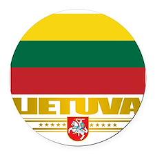 Lithuania (Flag 10)2 Round Car Magnet