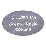 Funky Love Green Cheeked Conure Oval Decal