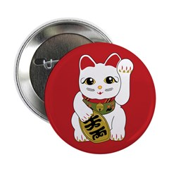 "White Maneki Neko 2.25"" Button (100 pack)"