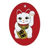 White Maneki Neko Oval Ornament