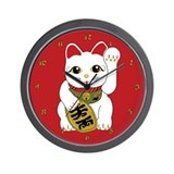 White Maneki Neko Wall Clock