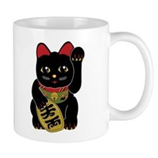 Black Maneki Neko Coffee Mug