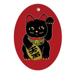 Black Maneki Neko Oval Ornament