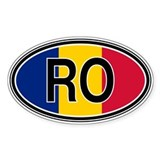 Romania Euro Oval Bumper Stickers